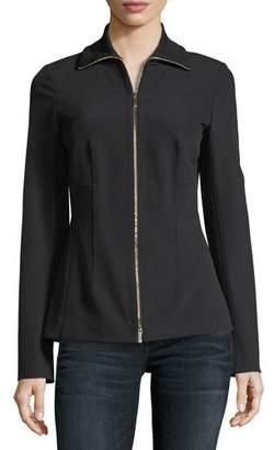 Lafayette 148 New York Turtleneck Zip-Front Stretch-Knit Jacket