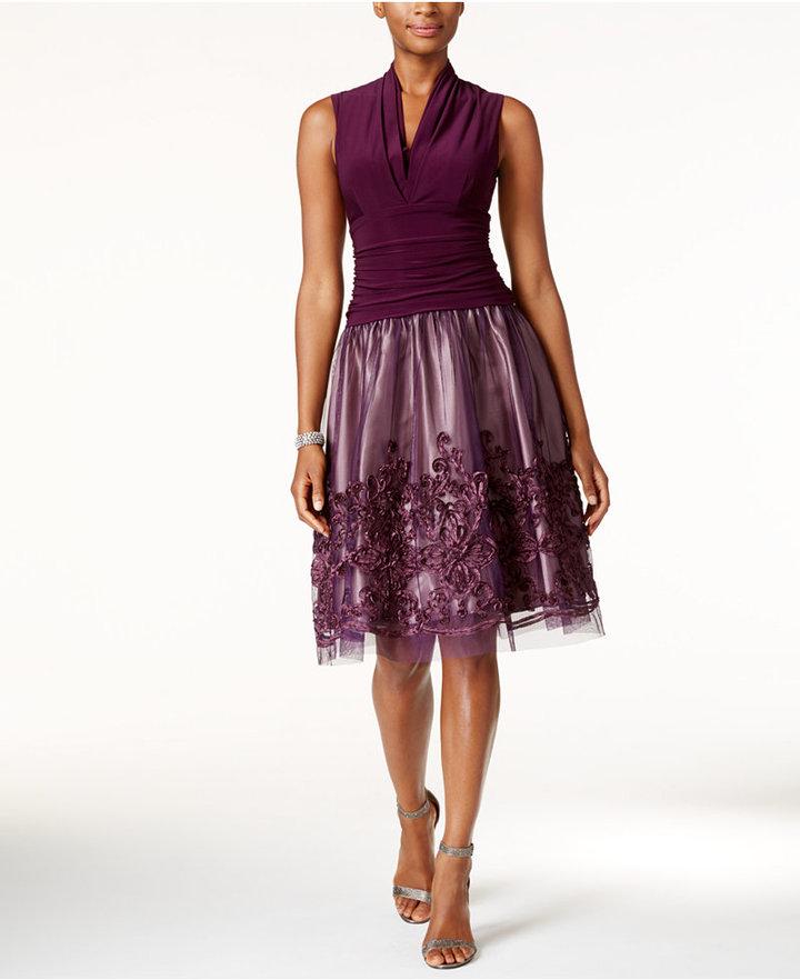 SL Fashions Surplice Soutache Fit & Flare Dress