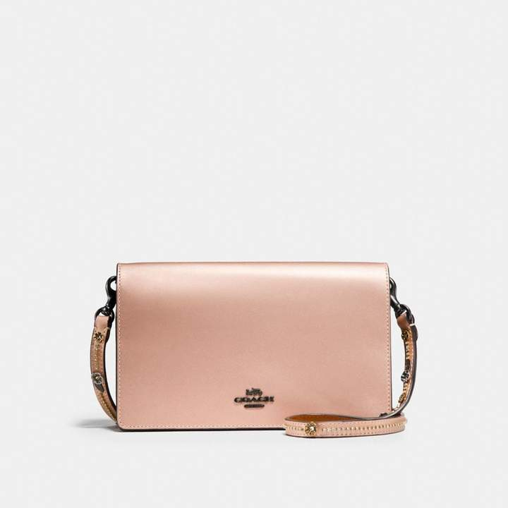 Coach New YorkCoach Foldover Chain Clutch With Tea Rose - METALLIC PINK GOLD/BLACK COPPER - STYLE