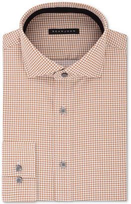 Sean John Men's Classic/Regular Fit Brown Print Dress Shirt