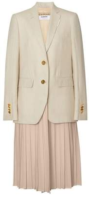 Burberry Pleated Panel Wool Silk Linen Tailored Jacket