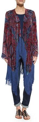 Neiman Marcus Burnout Fringe-Trim Kimono, Red/Multi $245 thestylecure.com