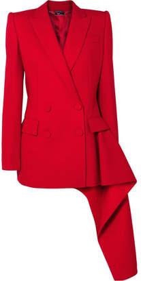 Alexander McQueen Asymmetric Double-breasted Wool-blend Blazer - Red
