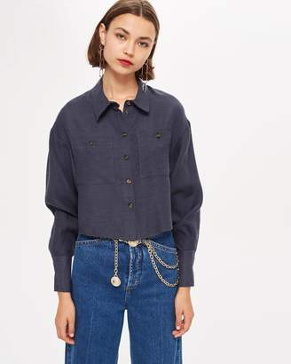 Topshop Raw Edge Long Sleeve Shirt