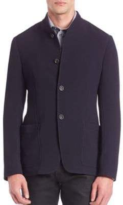 Giorgio Armani Textured Virgin Wool-Blend Jersey Jacket