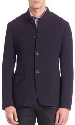 Giorgio Armani Textured Virgin Wool-Blend Jersey Jacket
