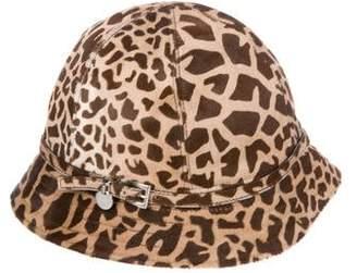 Prada Ponyhair Printed Bucket Hat