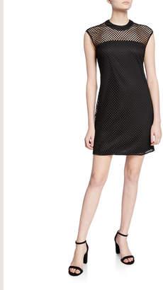 Alexia Admor Crewneck Cap-Sleeve Mesh Dress