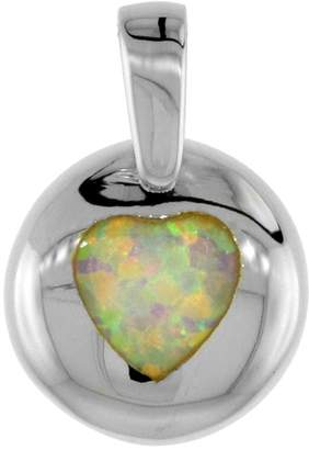 Sabrina Silver Sterling Silver Heart Pendant Synthetic Opal Inlay 1/2 inch Diameter