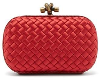 Bottega Veneta Knot Satin And Watersnake Clutch - Womens - Red