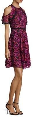 Shoshanna Floral Lace Cold-Shoulder Dress