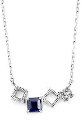 Classic Jewels K18WG ダイヤモンド サファイヤ スクエアモチーフ ペンダント ホワイトゴールド