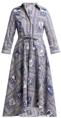 Le Sirenuse Le Sirenuse, Positano - Lucy Postcard Print Cotton Shirtdress - Womens - Dark Blue