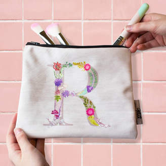 997b48c5a4da Gillian Arnold Personalised Wash Bag With Botanical Inspired Lettering