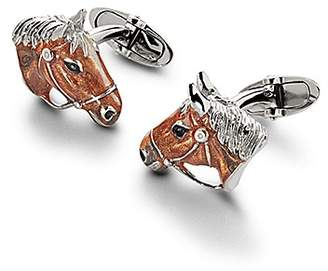 Aspinal of London Sterling Silver & Enamel Frog Cufflinks