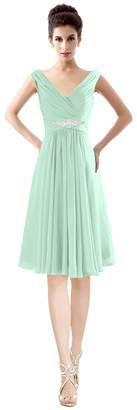 CaliaDress Women V Neck Ruffles Bridesmaid Dress Formal Prom Gowns Short C19LF US