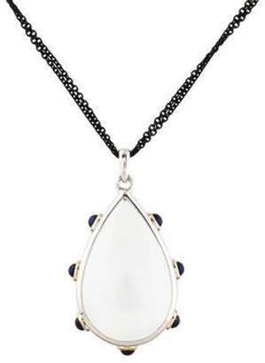 Monica Rich Kosann Rock Crystal Quartz & Lapis Lazuli Pendant Necklace silver Rock Crystal Quartz & Lapis Lazuli Pendant Necklace