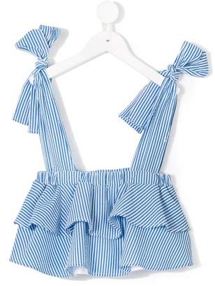 MSGM tie strap striped top