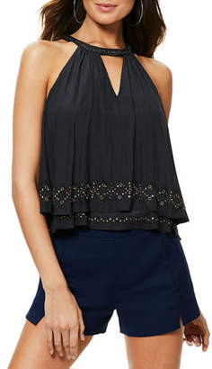 Ramy Brook Connie Studded Tiered Halter Top