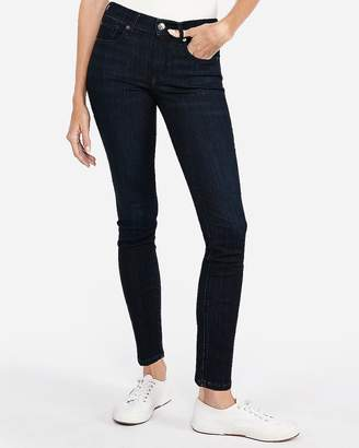 Express Mid Rise Dark Wash Super Skinny Jeans