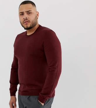 Asos Design PLUS Merino Wool Sweater In Burgundy
