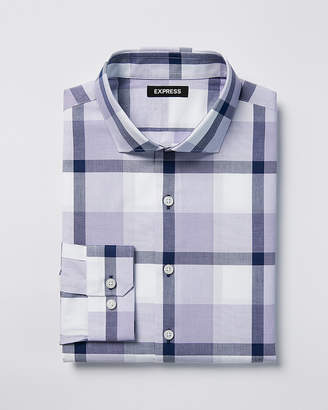 Express Classic Plaid Spread Collar Dress Shirt
