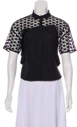 Giamba Short Sleeve Button-Up Top