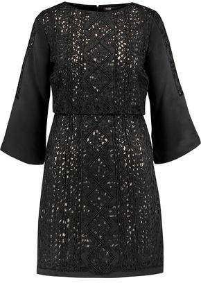 Maje Rebecca Embellished Satin Mini Dress