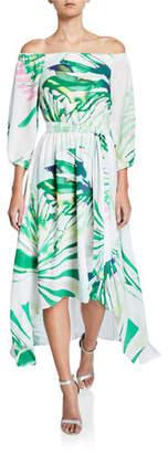 Josie Natori Palm-Printed Off-the-Shoulder High-Low Maxi Dress