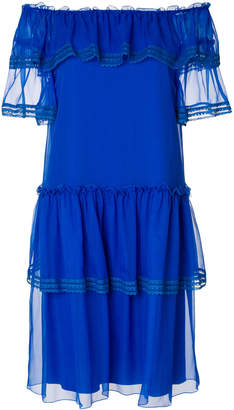 Alberta Ferretti tiered frill off-shoulder dress