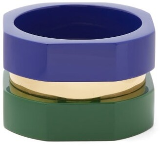 Objet Singulier - Geometric Tri Colour Wood And Brass Bracelet - Womens - Blue