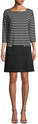 Joan Vass Striped Interlock Dress w/ Zip Pockets, Petite