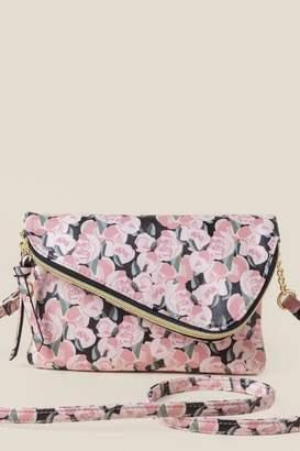 francesca's Teagan Mini Angled Floral Crossbody - Pink