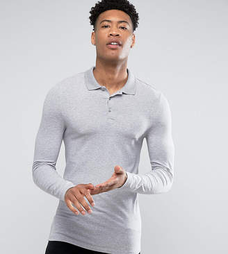 Asos Design TALL Extreme Muscle Long Sleeve Polo In Grey Marl