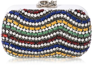 Corto Moltedo Susan C Star White Nappa Leather and Multicolor Stones Pochette w/Chain Strap