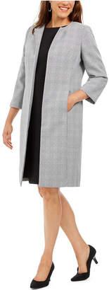 Le Suit Plaid Tweed Topper-Jacket Dress Suit