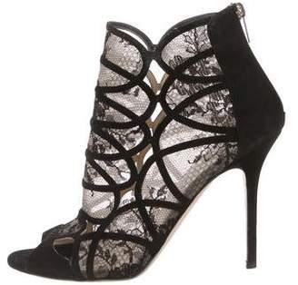 Jimmy Choo Lace Peep-Toe Ankle Boots