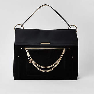 River Island Black zip front chain front slouch bag