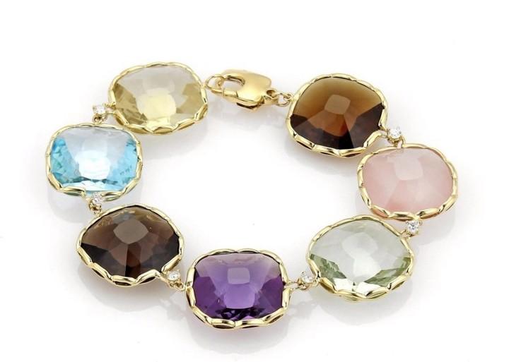 Roberto Coin Ipanema 18K Yellow Gold Diamonds & Multiple Gemstone Bracelet
