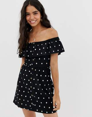 Asos Design DESIGN mini button through sundress with tiered skirt in polka dot