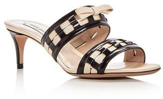 Giorgio Armani Women's Bow Embellished Leather Slide Mid Heel Sandals