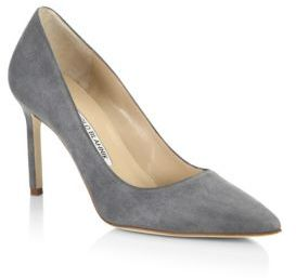 Manolo Blahnik BB 90 Suede Point Toe Pumps $595 thestylecure.com