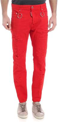 DSQUARED2 Ripped Red Denim Jeans