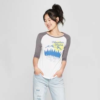 Awake Women's 3/4 Sleeve Mountain Mama Raglan Graphic T-Shirt White/Gray