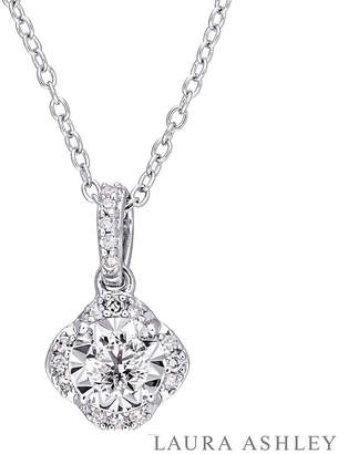 Laura Ashley FINE JEWELRY Womens 1/5 CT. T.W. Genuine White Diamond Sterling Silver Pendant Necklace