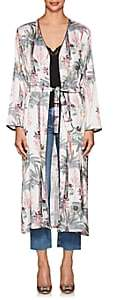 LoboRosa Women's Palomino Parrot-&-Palm-Tree-Print Satin Robe