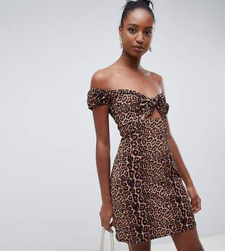 Glamorous Tall tie front tea dress in leopard print