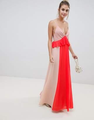 Asos DESIGN color block cami strap maxi dress with ruffle waist