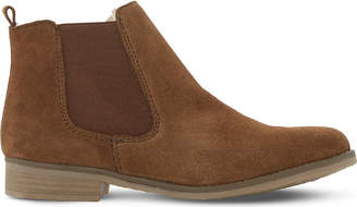 Dune Ladies Brown Embellished Comfortable Prompts Faux Fur-Lined Ankle Boots