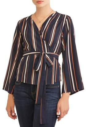 Lucca Couture Women's Ruth Trumpet Sleeve Wrap Blouse